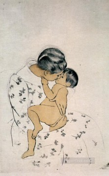 klimt kiss Painting - Mothers Kiss 1891 mothers children Mary Cassatt