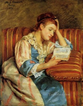Mary Cassatt Painting - Mrs Duffee Seated on a Striped Sofa Reading mothers children Mary Cassatt