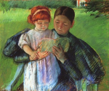 Mary Cassatt Painting - Nurse Reading mothers children Mary Cassatt