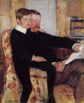 Mary Cassatt Painting - Portrait of Alexander J Cassat and His Son Robert Kelso Cassatt mothers children Mary Cassatt