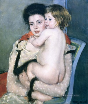 baby Painting - Reine Lefebvre Holding a Nude Baby mothers children Mary Cassatt