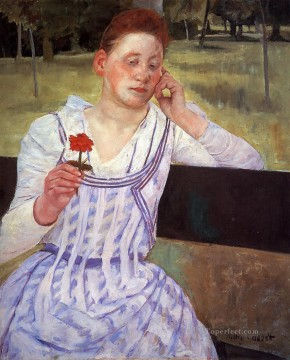 Reverie aka Woman with a Red Zinnia mothers children Mary Cassatt Oil Paintings