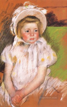 Simone in a White Bonnet mothers children Mary Cassatt Oil Paintings