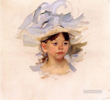 Mary Cassatt Painting - Sketch ofEllen Mary Cassatt in a Big Blue Hat mothers children Mary Cassatt