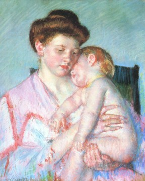 sleep Painting - Sleepy Baby mothers children Mary Cassatt