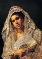 Spanish Dancer Wearing A Lace Mantilla mothers children Mary Cassatt