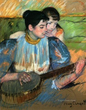 Mary Cassatt Painting - The Banjo Lesson mothers children Mary Cassatt