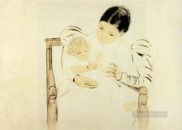 Mary Cassatt Painting - The Barefooted Child mothers children Mary Cassatt