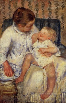 Mary Cassatt Painting - The Childs Bath mothers children Mary Cassatt