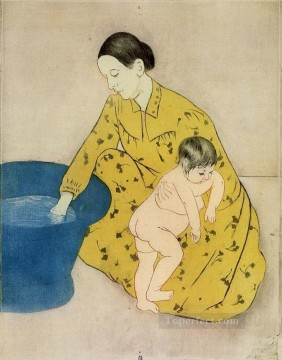 Mary Cassatt Painting - The Childs Bath2 mothers children Mary Cassatt