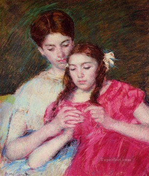 Mary Cassatt Painting - The Chrochet Lesson mothers children Mary Cassatt