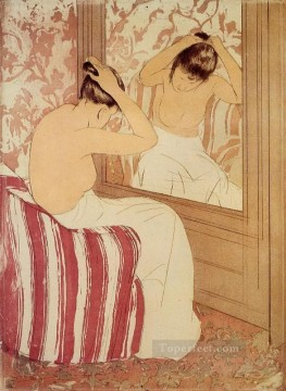 Mary Cassatt Painting - The Coiffure study mothers children Mary Cassatt