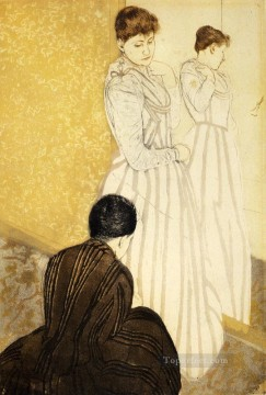 Mary Cassatt Painting - The Fitting mothers children Mary Cassatt