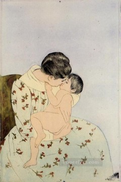 Mary Cassatt Painting - The Kiss mothers children Mary Cassatt