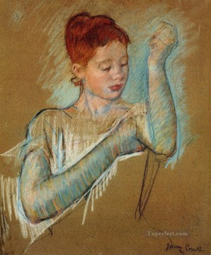 The Long Gloves mothers children Mary Cassatt Oil Paintings