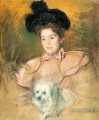 Woman in Raspberry Costume Holding a Dog mothers children Mary Cassatt