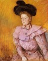 Woman in a Black Hat and a Raspberry Pink Costume mothers children Mary Cassatt