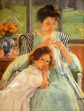 Mary Cassatt Painting - Young Mother Sewing mothers children Mary Cassatt