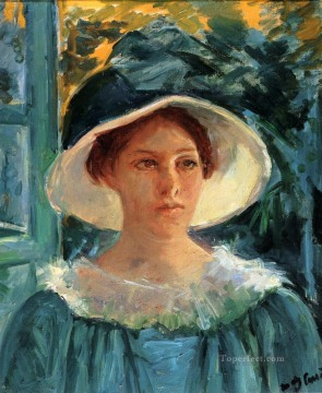 Young Woman In Green Outdoors In The Sun mothers children Mary Cassatt Oil Paintings