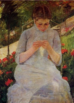 Mary Cassatt Painting - Young Woman Sewing in a Garden mothers children Mary Cassatt