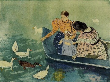Mary Cassatt Painting - Feeding the Ducks mothers children Mary Cassatt