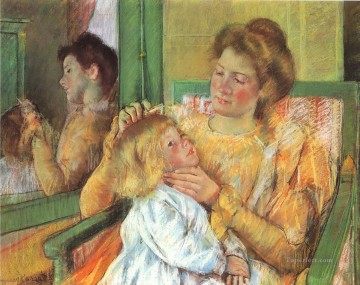 Mother Combing mothers children Mary Cassatt Oil Paintings