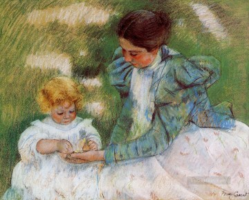 Mary Cassatt Painting - Mother Playing with Her Child mothers children Mary Cassatt