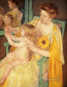 sunflower sunflowers Painting - Mother Wearing A Sunflower On Her Dress mothers children Mary Cassatt