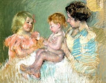 Mary Cassatt Painting - Sara and Her Mother with the Baby mothers children Mary Cassatt