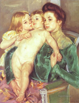 Mary Cassatt Painting - The Caress mothers children Mary Cassatt