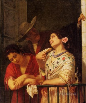 Mary Cassatt Painting - The Flirtation A Balcony in Seville mothers children Mary Cassatt
