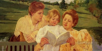 Mary Cassatt Painting - The Garden Reading mothers children Mary Cassatt