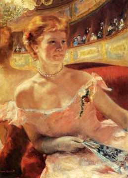 Mary Cassatt Painting - Woman With A Pearl Necklace In A Loge mothers children Mary Cassatt