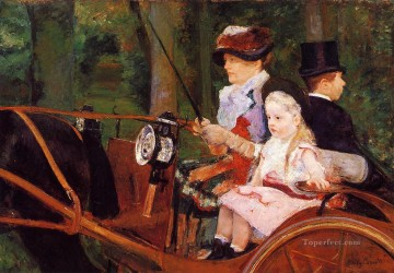 Mary Cassatt Painting - Woman and Child Driving mothers children Mary Cassatt
