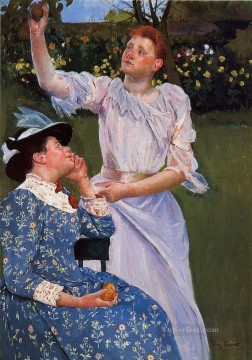 Mary Cassatt Painting - Young Woman Picking Fruit mothers children Mary Cassatt