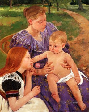Mary Cassatt Painting - The Family mothers children Mary Cassatt