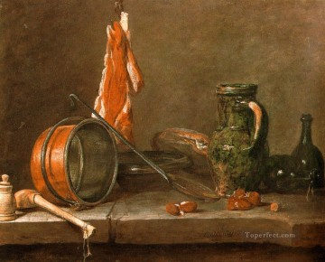 Jean Baptiste Simeon Chardin Painting - A Lean Diet with Cooking Utensils still life Jean Baptiste Simeon Chardin