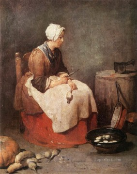 Girl Peeling Vegetables Jean Baptiste Simeon Chardin Oil Paintings