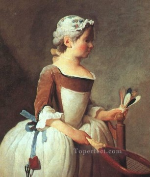 Girl with Racket and Shuttlecock Jean Baptiste Simeon Chardin Oil Paintings