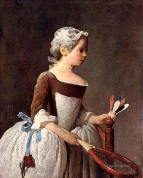 Girl with a featherball racket Jean Baptiste Simeon Chardin Oil Paintings