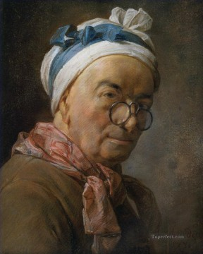 Self portrait with glasses Jean Baptiste Simeon Chardin Oil Paintings