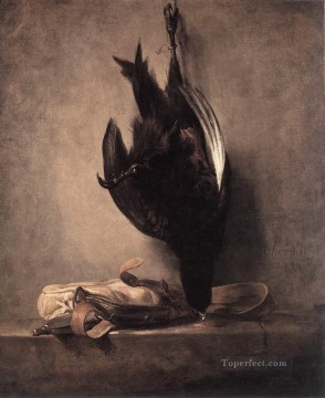 hunting Canvas - Still Life with Dead Pheasant and Hunting Bag Jean Baptiste Simeon Chardin