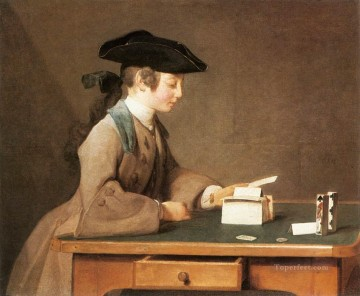 Jean Baptiste Simeon Chardin Painting - The House of Cards Jean Baptiste Simeon Chardin