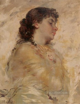 girl lady woman women Painting - Portrait of a Young Woman in Profile women Charles Joshua Chaplin