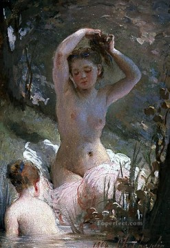 Bath Painting - two girls bathing nudes Charles Joshua Chaplin