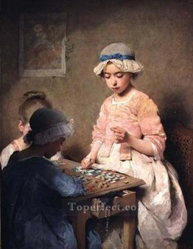 Lotto Art Painting - the game of lotto women Charles Joshua Chaplin