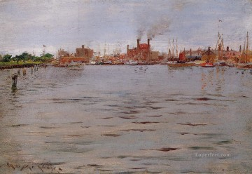 William Merritt Chase Painting - Harbor Scene Brooklyn Docks William Merritt Chase