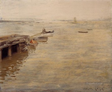 Shore Painting - Seashore aka A Grey Day William Merritt Chase
