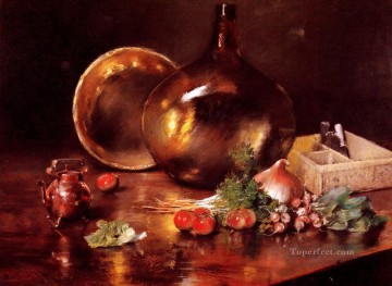 glass Painting - Still Life Brass and Glass William Merritt Chase