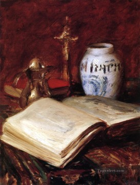 William Merritt Chase Painting - The Old Book William Merritt Chase